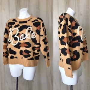 dee elly leopard print babe sweater small